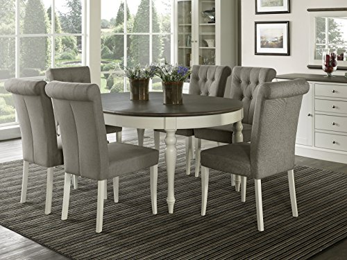 Everhome Designs – Vegas 7 Piece Round To Oval Extension Dining Table Set for 6 Parsons Chairs