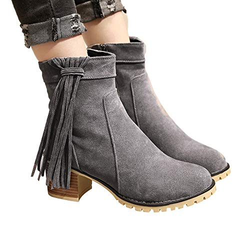 Women Boots JJLIKER Bohemian Ethnic National Tassel Vintage Shoes Fashion Fringe Ankle Zipper Boots ()
