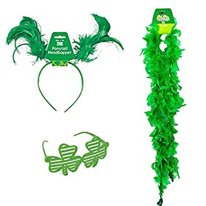 St Patrick's Patricks Day Costume Accessories Green Boppers Headband, Shaded Glasses, Feather Boa