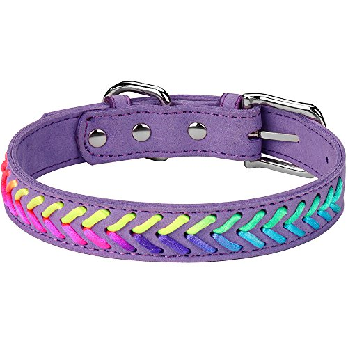 (DAIHAQIKO Colorful Dog Collar and Leash Ultra-Light Soft Suede Microfiber Colorful Rope Weave 11 Colors & 4 for Puppies Small Medium Dogs or Cats (L, Collar Purple A))