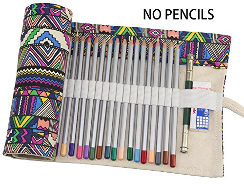 Hz.Codelo Canvas Pencil Wrap Roll up Case Hold for 72 Colored Pencils, Travel Carrying Organizer Holder,Great for Kids Adult Coloring Book - Bohemian(NO PENCILS (Roll Case Pack)