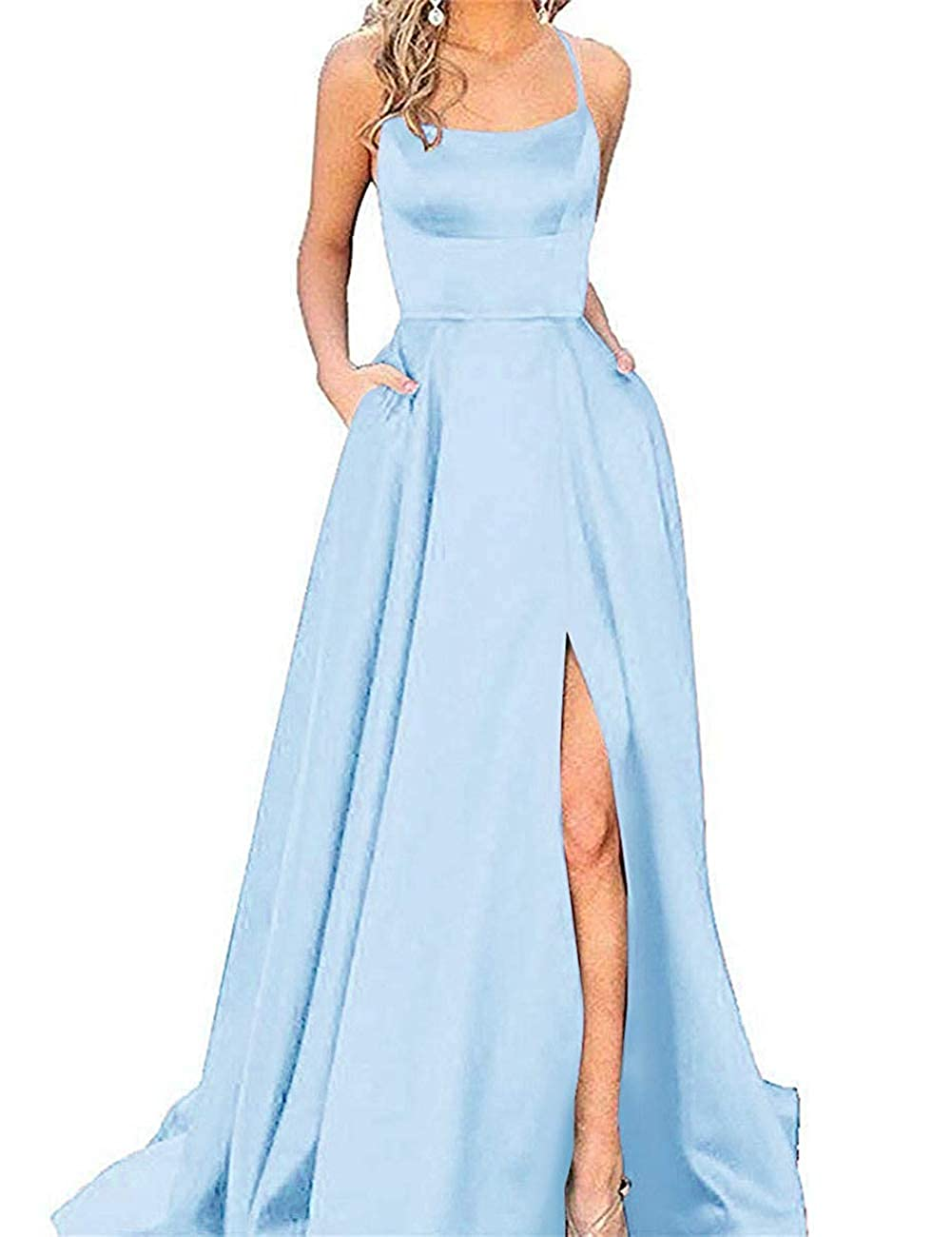 Light bluee APXPF Women's Spaghetti Straps Satin Prom Dress Long Split ALine Formal Party Gown with Pockets