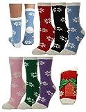 Gilbin 6 Pack Super Soft Toasty Fuzzy Snowflake Holiday Socks, Anti Grip Socks, Size 9-11