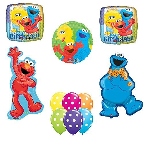 - Sesame Street Elmo Cookie Monster Happy Birthday Party Balloons Decorations.