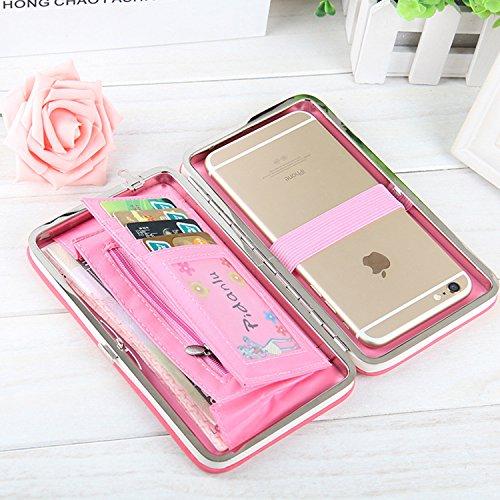 Caja de la cartera del teléfono, Vandot Estilo Largo Multiusos del Embrague del Cuero Bolso del Diamante de los Talones de la Caja del Teléfono Móvil del Monedero para el iPhone 8 / iPhone 8 Plus / iP Bow Wine Red