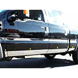 """F250 & F350 SUPERDUTY 2011-2016 FORD (10 Pc: SS Rocker Panel Body Accent Trim, 5.5"""" wide - Lower Kit: Bottom of door UP to specified width - between wheels, 4-door, Extra Cab, Short Bed) TH51321:QAA"""