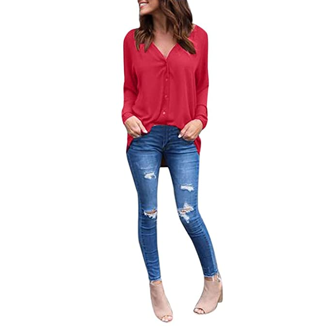 Blusa chiffon,Morwind camisa de manga larga de las mujeres suelta blusa casual camisa de