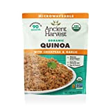 Ancient Harvest Microwaveable Heat-and-Eat Organic Quinoa with Chickpeas & Garlic, 8 oz. Microwavable Pouches (Pack of 12), for Convenient Daily Protein