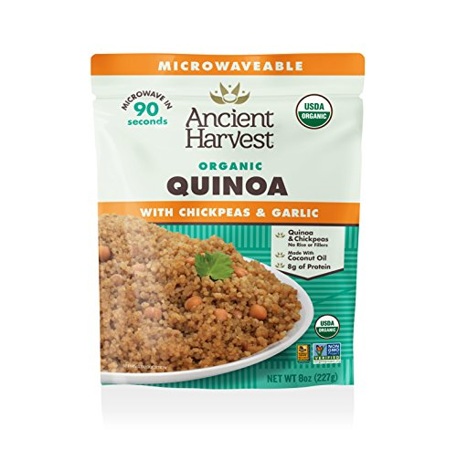 Ancient Harvest Microwaveable Heat-and-Eat Organic Quinoa with Chickpeas & Garlic, 8 oz. Microwavable Pouches (Pack of 12), for Convenient Daily Protein by Ancient Harvest