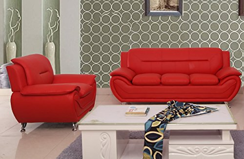 (Container Furniture Direct S5396-S+L Michael Sofa and Loveseat Red)