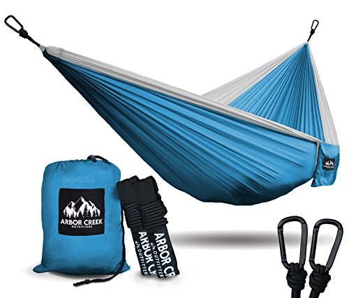 Best XL Double Camping Hammock - Heavy Duty and Ultralight Nylon Travel Hammock - Upgraded Carabiners Portable Hammock with Tree Straps – Indoor & Backyard Hammock –Easy Setup Hammock - Holds 500 lbs! by Arbor Creek Outfitters