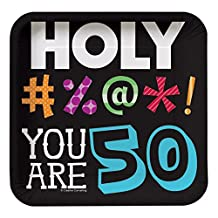 Holy Bleep You're 50 7-inch Birthday Paper Plates 8 Per Pack
