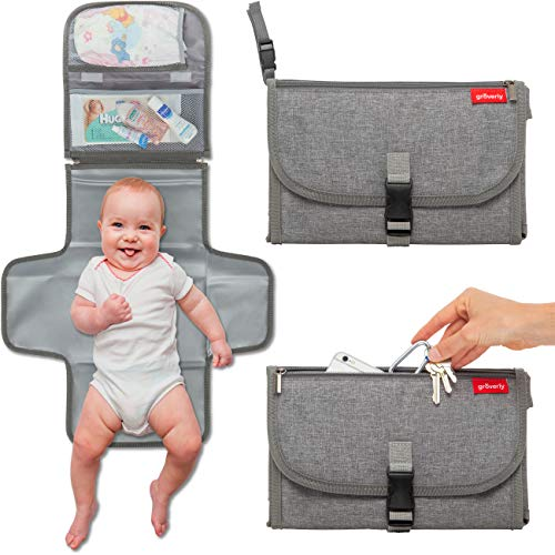 - Portable Diaper Changing Pad - Baby Travel Changing Station Mat Clutch | Slim Hygienic Durable | Memory Foam Comfort Pillow | Diaper Bag Accessories | Baby Shower Gifting by Groverly