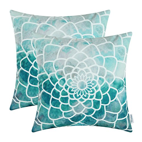 CaliTime Pack of 2 Cozy Fleece Throw Pillow Cases Covers for Couch Bed Sofa Manual Hand Painted Print Colorful Dahlia Compass 20 X 20 Inches Teal ()