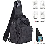 Cheap Kenny Walker Tactical Sling Bag Cross Body Chest Rucksack Military Shoulder Pack EDC Molle Fly Fishing Packs for IPad Mini Nylon Outdoor Camping Hiking Trekking Travel Daypack (Black)