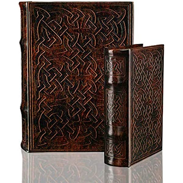 Amazon.com: WaaHome Faux Book Box Antique Wooden Leather ...