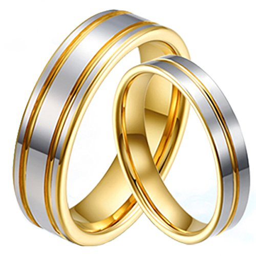 Fashion Month Mens Womens Couples Tungsten Line Grooved Wedding Engagement 18K Gold Ring Promise White Band for Him Her