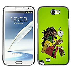 LECELL -- Funda protectora / Cubierta / Piel For Samsung Galaxy Note 2 N7100 -- Cool Music 420 Marijuana Rasta --