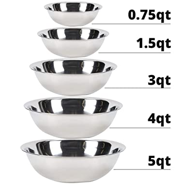 Vollrath Economy Mixing Bowl Set of 5 pcs (0.75, 1.5, 3, 4 & 5-Quart, Stainless Steel)