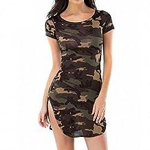 Women Sexy Bodycon Long Tops Causal Mini Skinny Camouflage Dress S-5XL Plus Size