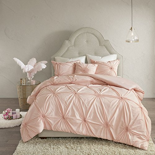 Madison Park Leila Comforter Reversible Solid 100% Cotton Blend Embroidery Elastic Tufted Puckered Diamond Soft Down Alternative Hypoallergenic All Season Bedding-Set, Full/Queen, Blush