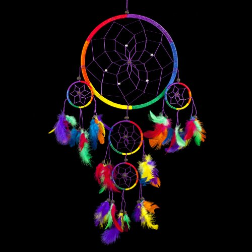 Caught Dreams Dream Catcher ~ Rainbow With Feathers