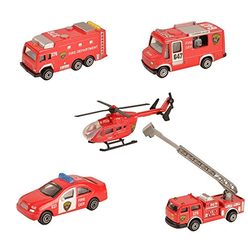 BOHS Pack of 5pcs - Canton Fire Department Rescue Vehicles- Mini Metal Miniature Diecasts -Aerial Ladder Fire Trucks, Rescue Helicopter, Water Tank Fire Engine,Patrol Car,Commander Center …