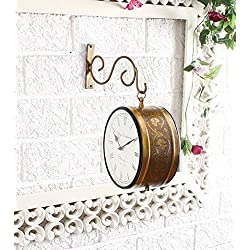 Tuzech Brass Finish Antique Style Round Hanging Wall Mount Home Decor Double Side Wall Clock Creative Classic Clocks - Large 10 INCHES