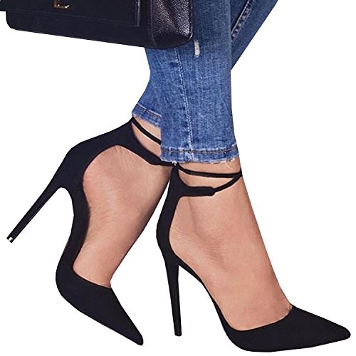 Womens Fashion Lace Up High Heeled Pointed Cusp Toe Ankle Strap Sandals Shoes ()
