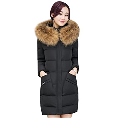 a8aa50d1866 NiSeng Women's Winter Slim Fit Cotton-Padd Coat Thick Mid-Long Faux Fur  Hooded