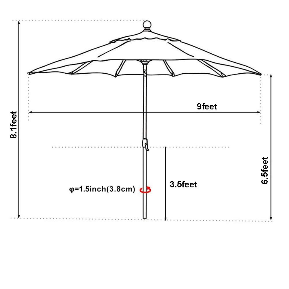 EliteShade Sunbrella 9Ft Market Umbrella Patio Outdoor Table Umbrella with Ventilation (Sunbrella Heather Beige) by EliteShade (Image #6)