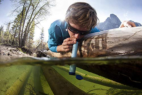 LifeStraw Personal Water Filter for Hiking, Camping, Travel, and Emergency Preparedness, 1 Pack, Blue