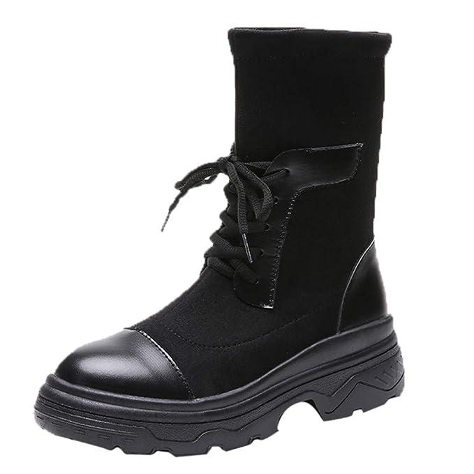 f6832cb9a9c DENER❤ Women Ladies Mid Calf Combat Boots