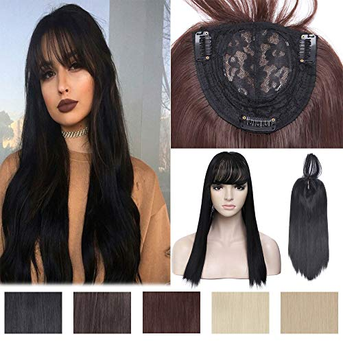 Clip in Crown Topper for Women Straight with Wispy Thin Air Bangs Synthetic Middle Part Top Toupee Hairpiece for Hair Loss Thinning Hair 17 Inch Long Black