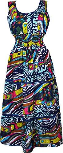 Para mujer diseño de larga con impresión de colibríes y Summer elástica en la cintura sin mangas e instrucciones para hacer vestidos Multicolor