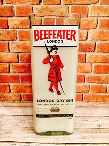 (BEEFEATER Gin Soy Candle- Cut Bottle Re-purposed Recycled)