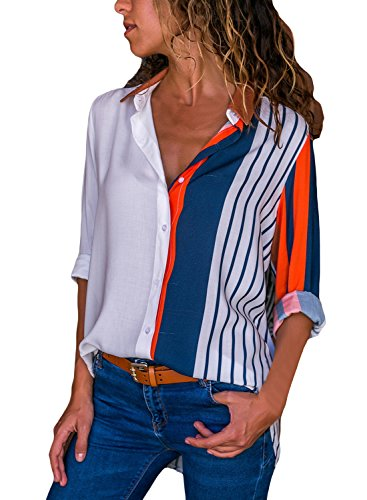 - Astylish Women Loose Fit 3 4 Sleeve Collared Color Block Tunic Blouse Tops Shirts Medium 8 10 Orange Multicoloured