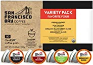 SF Bay Coffee OneCUP Variety Pack 80 Ct Compostable Coffee Pods, K Cup Compatible including Keurig 2.0 (Packag