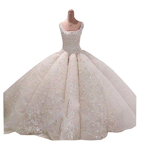 Kelaixiang Luxury Women Wedding Dress Square Neck Applique Rhinestone