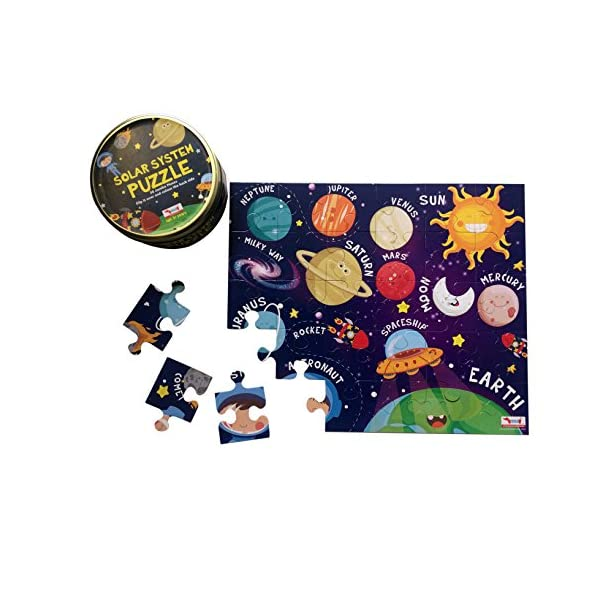 CocoMoco Kids Solar System Puzzle 30 Pcs |Puzzles Maps & Solar System Puzzle Combo| 3 in 1 Gift Pack 30 Pieces Tiling Puzzles (Jigsaw Puzzles, Puzzles for Kids, Floor Puzzles) Puzzles for Kids Age 5 Years and Above return gift for 2-6 year old boys and girls, multi color