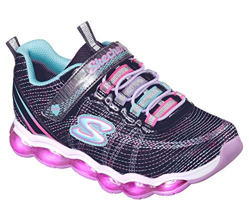 Skechers Kids Girls' Glimmer Lights Sneaker, navy/multi, 4.5 Medium US Big Kid