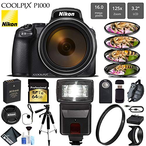 (Nikon COOLPIX P1000 Digital Camera 16MP 125x Optical Zoom & Build in Wi-Fi + Slave Flash + Macro Filter Kit + UV Protection Filter + Tripod - International Version )