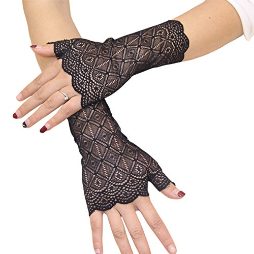 FloYoung Women Bridal Short Lace Half Finger Party Dress Gloves Black #2 -