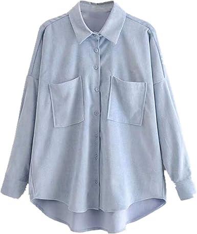 Camisa de pana de gran tamaño para mujer, estilo de novio ...