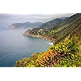 """Italy, Cinque Terre Coastal shoreline lookout by Dennis Flaherty - 16"""" x 24"""" Giclee Canvas Art Print"""