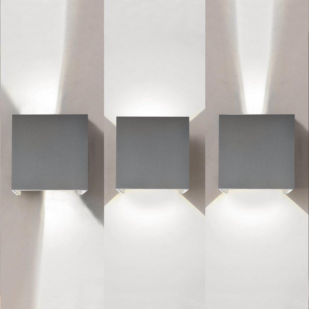 LED Aluminum Waterproof Wall Lamp,12W 85-225V 6000K Adjustable Outdoor Wall Light White Light 2 LEDS (Gray(white light))