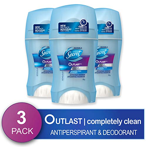 Secret Antiperspirant and Deodorant for Women, Completely Clean, Invisible Solid, Outlast Xtend, 2.6 Oz (Pack of 3) (Packaging May Vary)