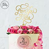 Love You More Calligraphy Engagement & Wedding Cake Topper | Mirrored Cake Toppers