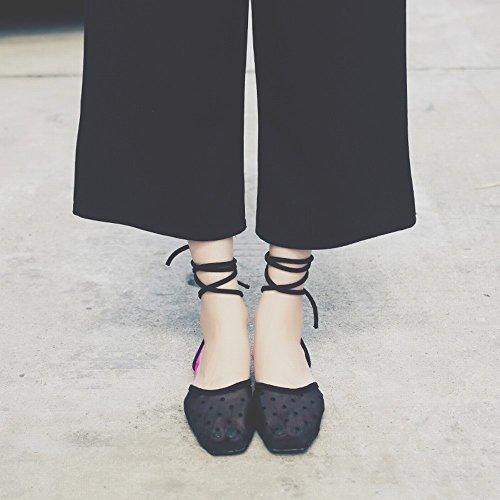 Cruzado Femeninos de Negro Baotou Zapatos Sandalias DIDIDD Romanos Encaje de Transpirable Zapatos 37 Planos Hilo Malla X6xSzzn