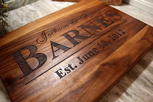 Personalized Cutting Board for Wedding: or Anniversary Gifts - Wooden Serving Board for Meat or Cheese - The Greatest Wedding Gift With Matching Glassware, Serving Tray, and Coasters as options! -